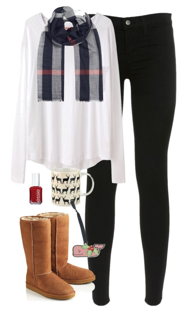 """""""Wrapping Presents"""" by classically-preppy ❤ liked on Polyvore featuring J Brand, Organic by John Patrick, UGG Australia, Burberry, Essie and Anorak"""