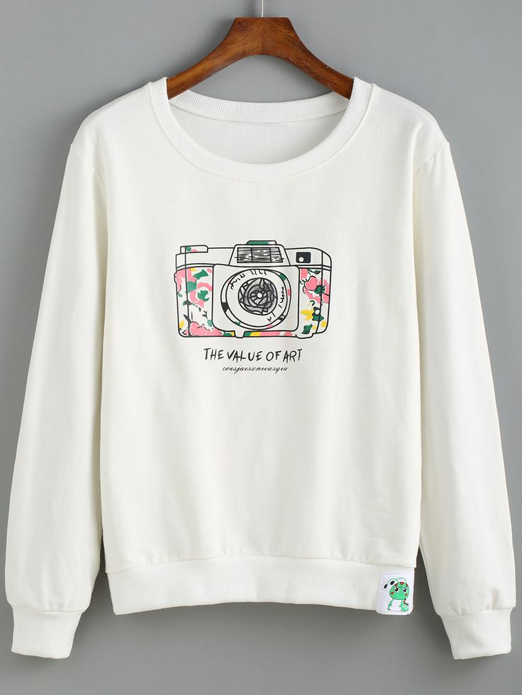 White Round Neck Camera Print Sweatshirt ,35% Off for 1st Sign Up