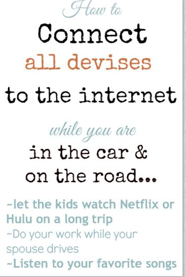 Connect laptop to the internet while you are in the car