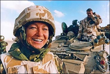 """Kate Adie - Asked how close to war in the Gulf the Allies were. The soldier replied """"it can't be that bad, Kate Adie is not here yet. BBC Correspondant."""