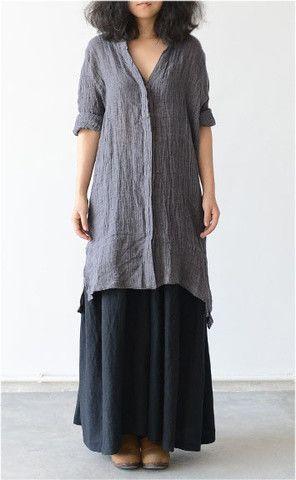 Linen Top in Gray