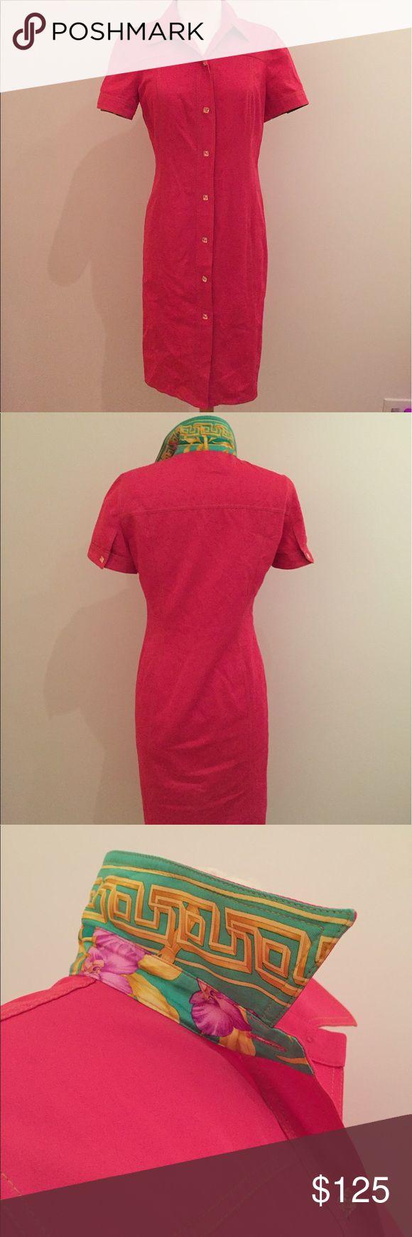 Vinatage Gianni Versace Shirt Dress Pink shirt dress with green printed sleeves and collar facings. Vintage. Versace Dresses