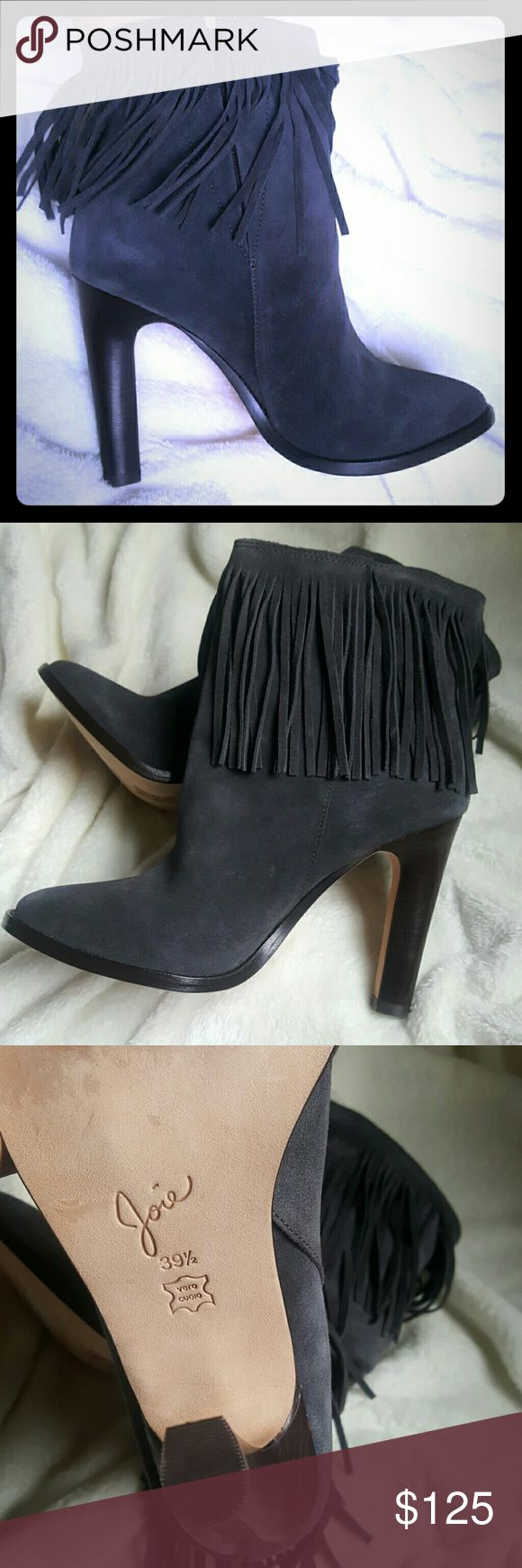 """Joie heeled fringe boots Cambrie style. Round toe ankle boots with fringe accents at uppers. 4"""" heel. Leather upper,lining and sole. Concealed elastisized gores at sides for easy pull-on (no zippers). Perfect condition NWT. Joie Shoes Heeled Boots"""