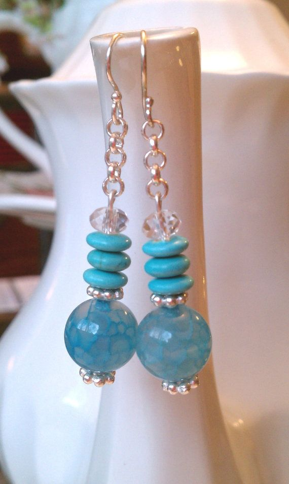 Blue Agate & Turquoise by ByBethEarringArt on Etsy