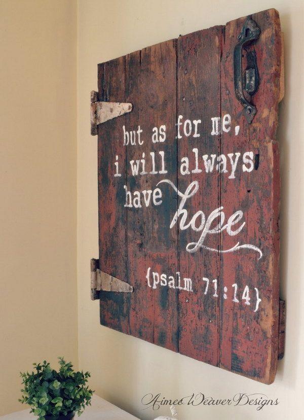 Bible Verse Wood Sign Made from an Antique Barn Door.