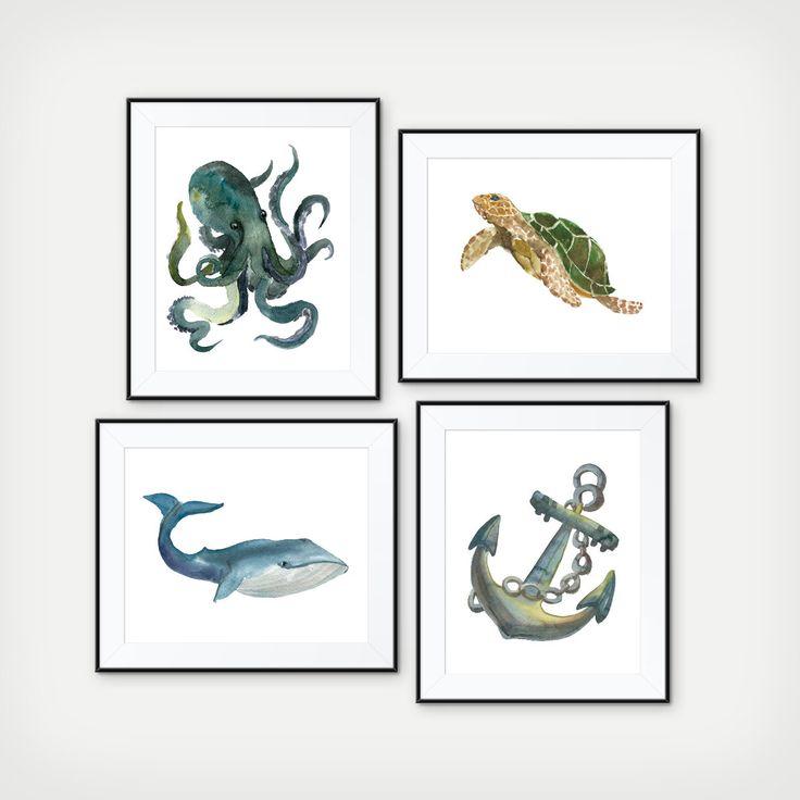 nautical bathroom wall decor nautical watercolor art prints nautical nursery decor octopus art