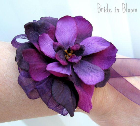 Pearl wrist corsage plum purple flower wristlet Wedding wrist corsages Bridal accessories proms. $17.00, via Etsy.