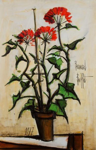 Bernard BUFFET (1928-1999) pot de géranium, 1977 Huile sur toile Signée sur la droite. Datée en bas vers la gauche. Titrée au dos au crayon sur le châssis. 100 x 65 cm L'oeuvre est référencée dans les… - Ader - 10/12/2014