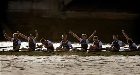 Oxford's men, from left, cox Will Hakim, Constantine Louloudis, Sam O'Connor, Michael Disanto, Jamie Cook, Tom Swartz, Henry Goodier, James O'Connor and stroke Will Geffen celebrate their win against Cambridge University at the end of the Boat Race on the River Thames, London, Saturday April 11, 2015. (AP Photo/PA, Anthony Devlin) UNITED KINGDOM OUT ▼11Apr2015AP|Oxford wins men's and women's Boat Races on River Thames http://bigstory.ap.org/article/540a7f18e533421b903cf5ed2ba007bb