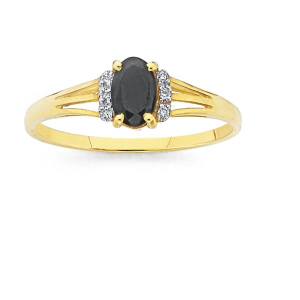 9ct Gold Sapphire & Diamond Oval Ring