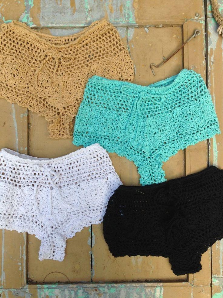 Cheeky cut super sexy all cotton shortie Hand made crocheted dare to bare sleep swim beach cool