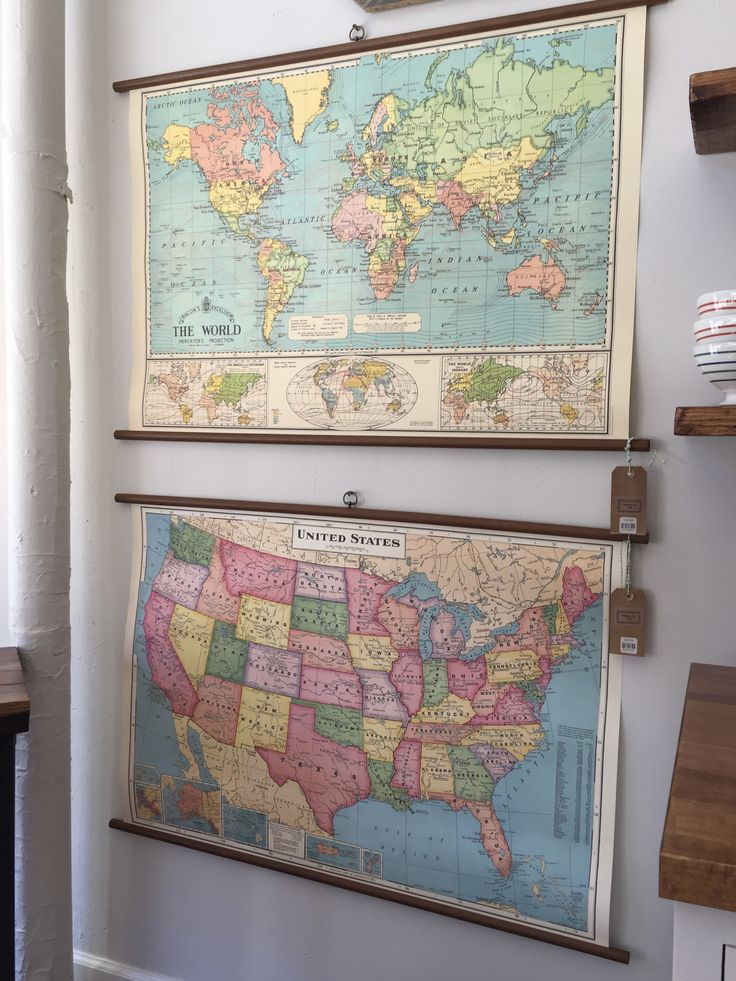 Easy, awesome home decor.  These vintage style classroom maps are great conversation starters. They also add a subtle touch of color to your home. Whether it's for the living room, nursery or kitchen you need this map.