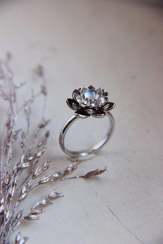 White Gold Lotus Ring Is Hand Sculpted From Solid 14k Gold Sheet We Offer This Lotus Lotus Engagement Ring Moonstone Engagement Ring Blue Gemstone Rings