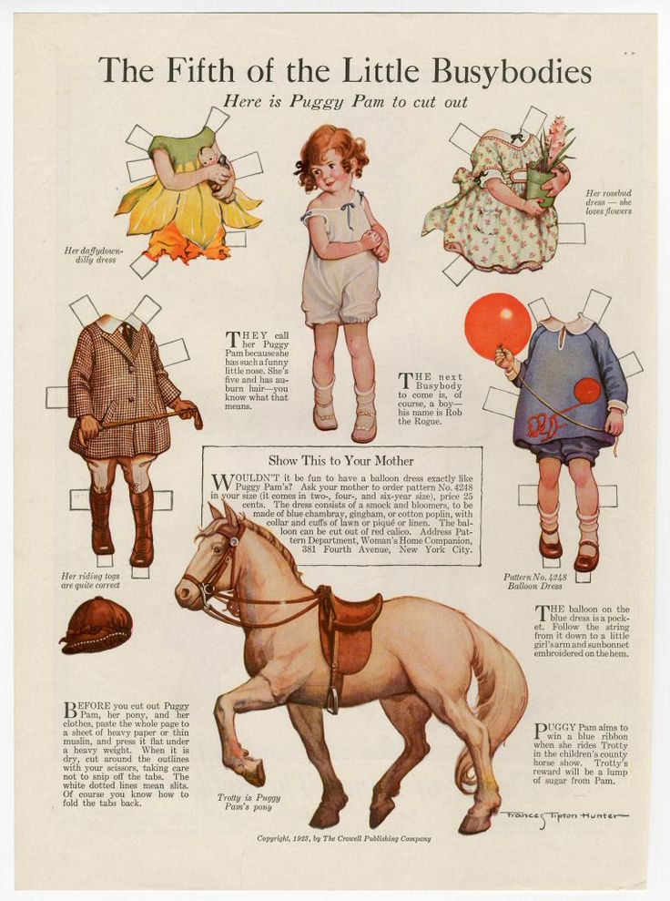 The Fifth of the Little Busybodies: Puggy Pam  paper doll  1923    Artist : Frances Tipton Hunter