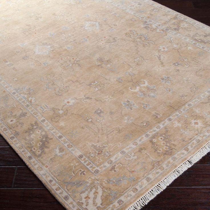 Antique Wash Oushak Reproduction Wool Rug Gray Or Sand