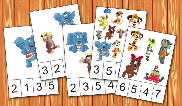 """Карточки для счета от 1 до 10 и для игры с прищепками. На каждой карточке нарисовано определенное количество герое мультфильма """"По дороге с облаками"""", а внизу четыре цифры."""