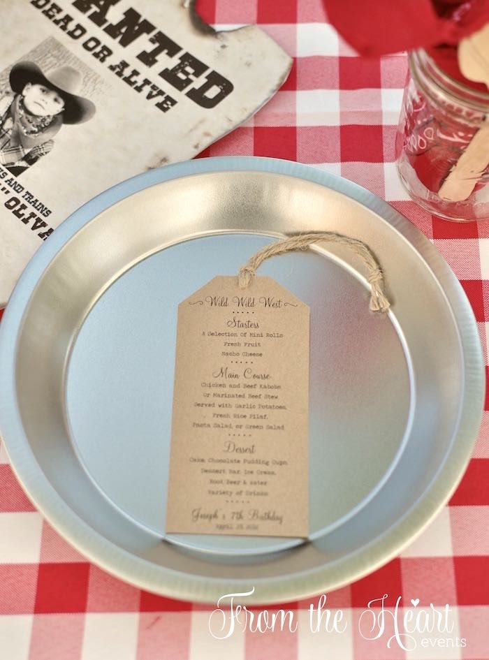 Place setting and menu from Wild West Cowboy Party at Kara's Party Ideas. See more at karaspartyideas.com!