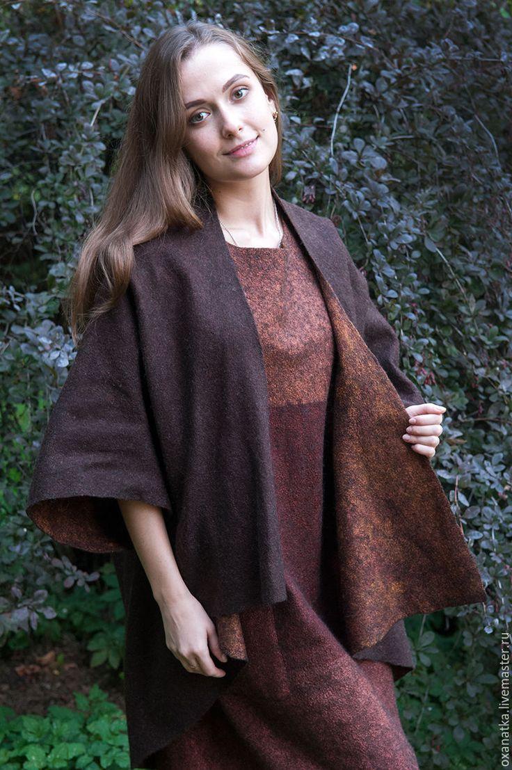Купить Валяный комплект платье и накидка Терра инкогнита - коричневый, цвета осени, краски осени