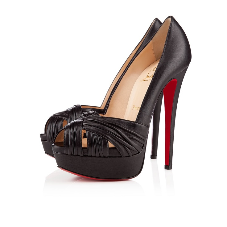 Best Christian Louboutin Jenny Peep Toe Pumps Black Popular In The World