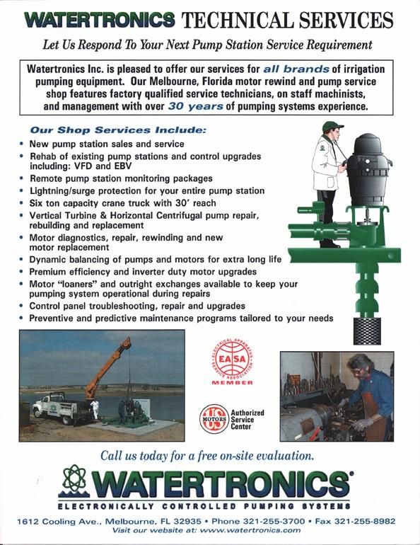 Watertronics service sell sheet