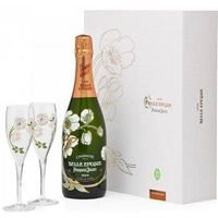 Perrier Jouet 2007 Belle Epoque Brut Champagne Gift Set w/ Two Matching Painted Glasses