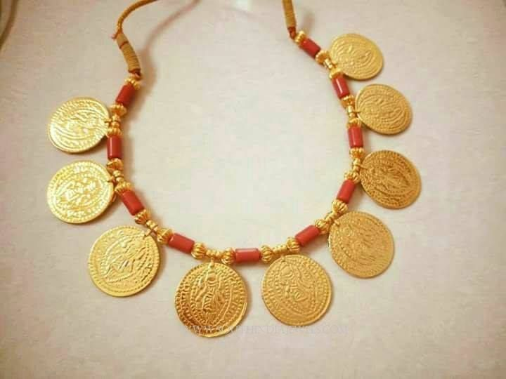Maharashtrian Style Coin Necklace Designs, Imitation Coin Necklace Models, Maharashtrian Imitation Necklace Designs.