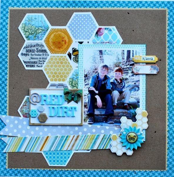 : Amazing Paper, Scrapbook Inspiration, Red Dirt, Scrapbook Stuff, Hexagons Patterns, Scrapbook Galleries, Scrapbook Layout, Layout 12, April Scraproom