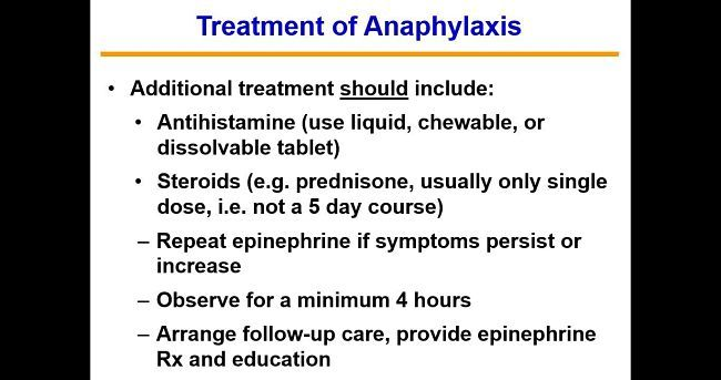 Treatment of Anaphylaxis shock