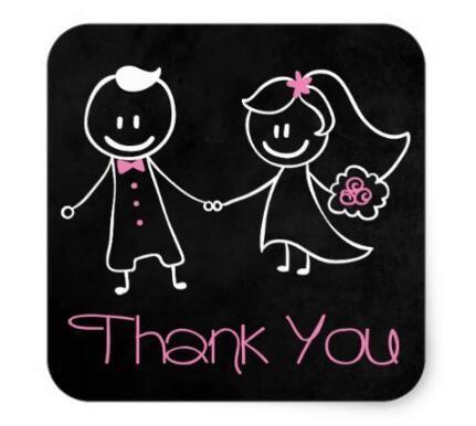 1.5inch Thank you Black Chalkboard Bride & Groom Stickers 1 #Affiliate