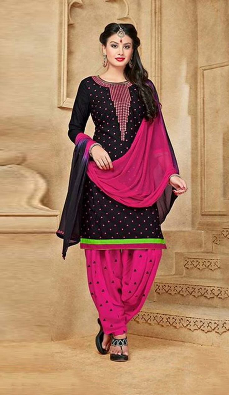 Style and pattern would be at the peak of your splendor when you attire this Black Color Cotton Straight Casual Patiyala Dresses. the lovely embroidery work a substantial attribute of this attire.comes with matching dupatta and patiyala pent.