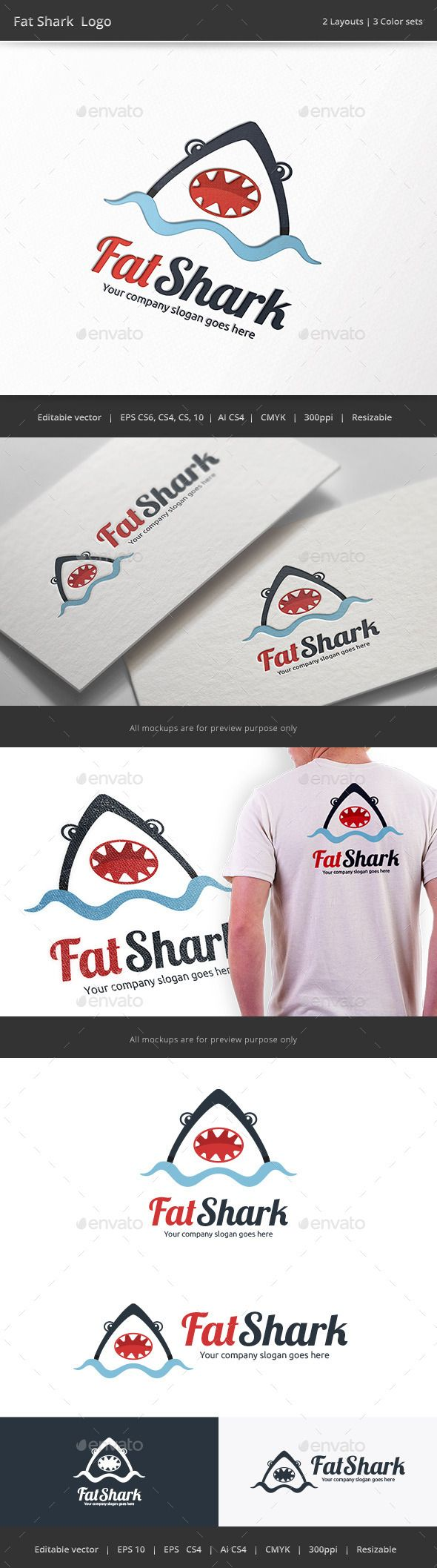 Fat Shark Logo — Vector EPS #sport #water • Available here → https://graphicriver.net/item/fat-shark-logo/9788750?ref=pxcr