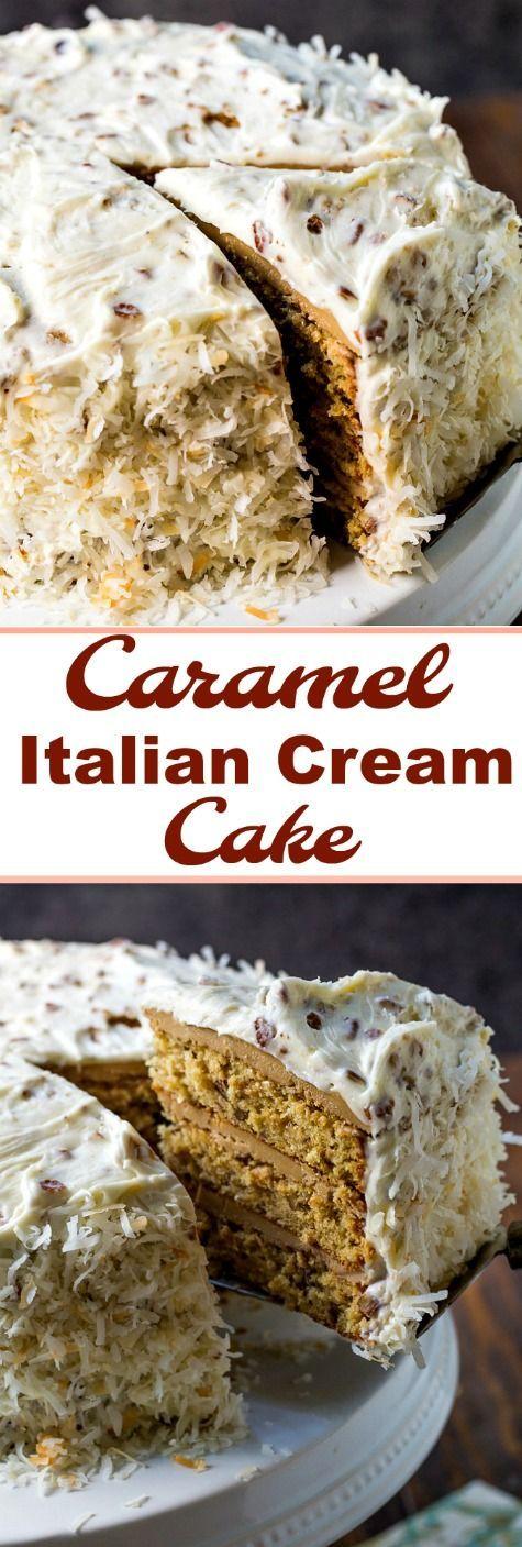 Caramel Italian Cream Cake #southern #desserts #Christmas #caramel
