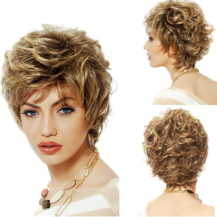 Fashion Women's Short Synthetic Wigs Fluffy Slightly Curly Wavy Women Wigs Short Hair Wig Girl Gift Light Linen HB88