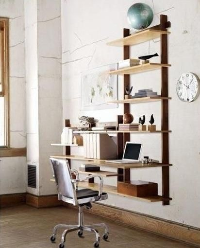 shelving idea for desks  - like the two-tone wood