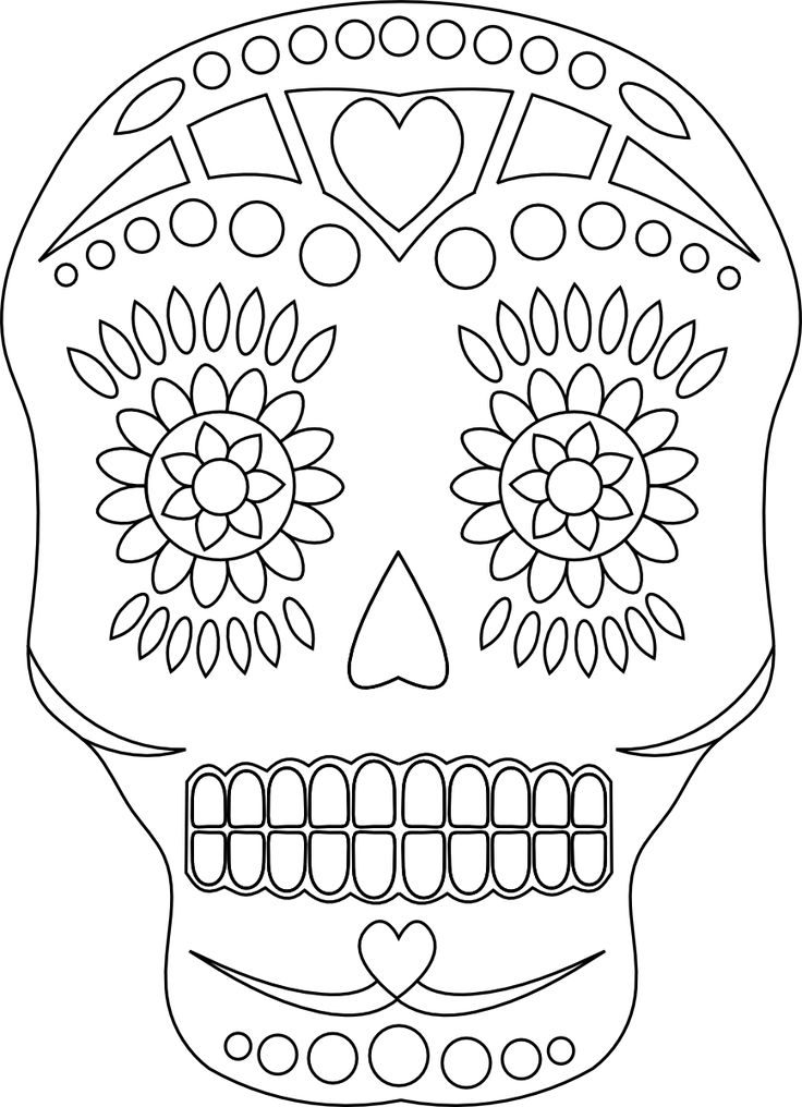 mexican skull coloring pages | Sugar Skull - Free Day of the Dead Digital Stamp