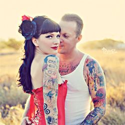 This Rockabilly couple and their pin-up themed engagement shoot are complete eye candy! Their vintage car was the icing on the cake. #weddinggawker
