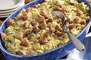 Broccoli Rice Casserole recipe - Another go-to recipe for me. My modifications: No onions (ew--though you can use onion powder for flavor), low sodium cream of mushroom soup, brown rice instead of white, and (homemade, whole grain) croutons instead of fresh bread cubes. Always delicious & never have leftovers!