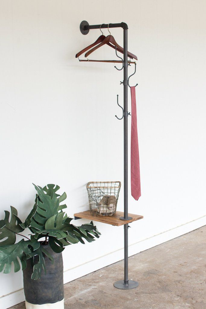Functional farmhouse! Industrial! This wall coat rack includes a recycled  wooden slat side table