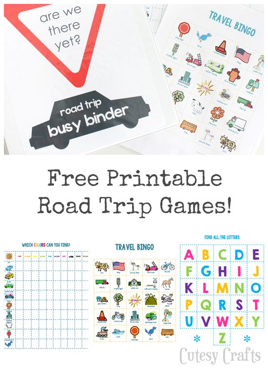 Busy Binder with free printable road trip games!