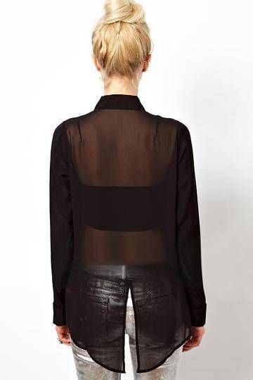 Black Chiffon Blouse with Splited back - US$9.95 -YOINS