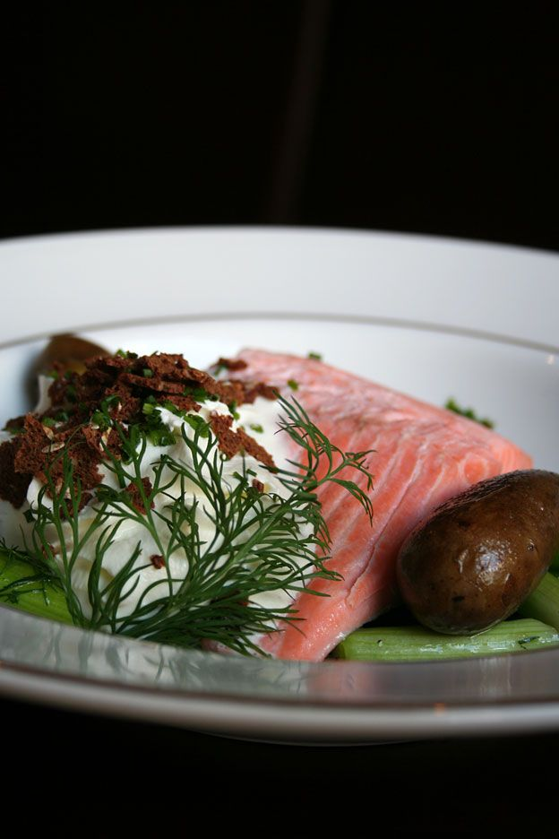 Olympen - Oslo, Norway. Salmon with potatoes, horseradish cream, crunchy bits of bread and of course dill. Olympen serves seasonal Nordic food with a modern touch.
