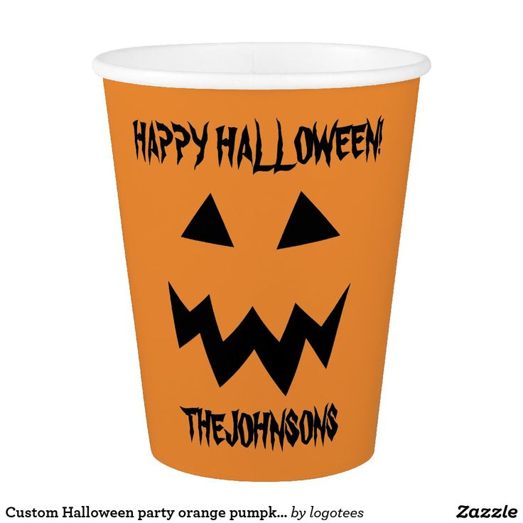 halloween party orange pumpkin head carving paper cups