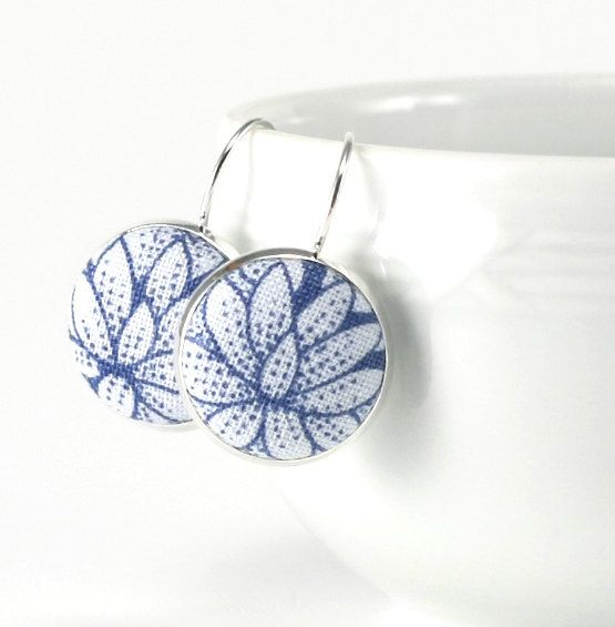 Drop Earrings Water Lily Dangle Earrings Blue Flowers Silver Toned Floral Bridal Leverback Earrings Fabric Covered Button Wedding Jewelry by PatchworkMillJewelry