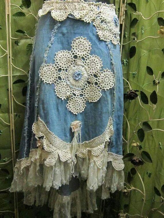 Long Blue Jean Skirt