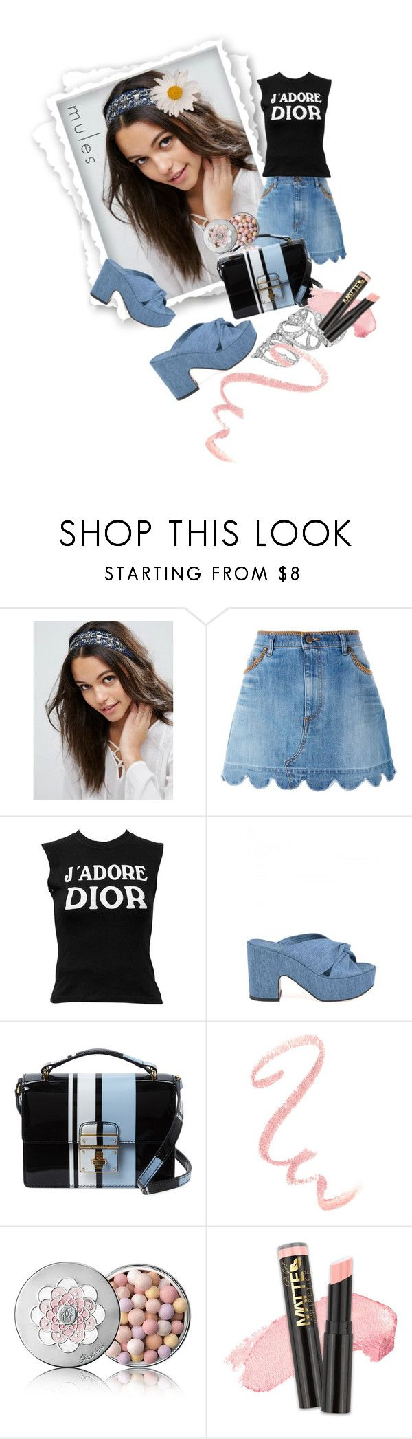 """Slip 'Em On: Mules"" by kari-c ❤ liked on Polyvore featuring ASOS, RED Valentino, Christian Dior, Robert Clergerie, Dolce&Gabbana, Guerlain, L.A. Girl and mules"
