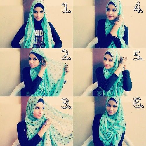 Casual Hijab Tutorial Pin the Hijab on both sides as the picture indicates and you will create a gorgeous ruffle on the side. Very easy and takes so little time.