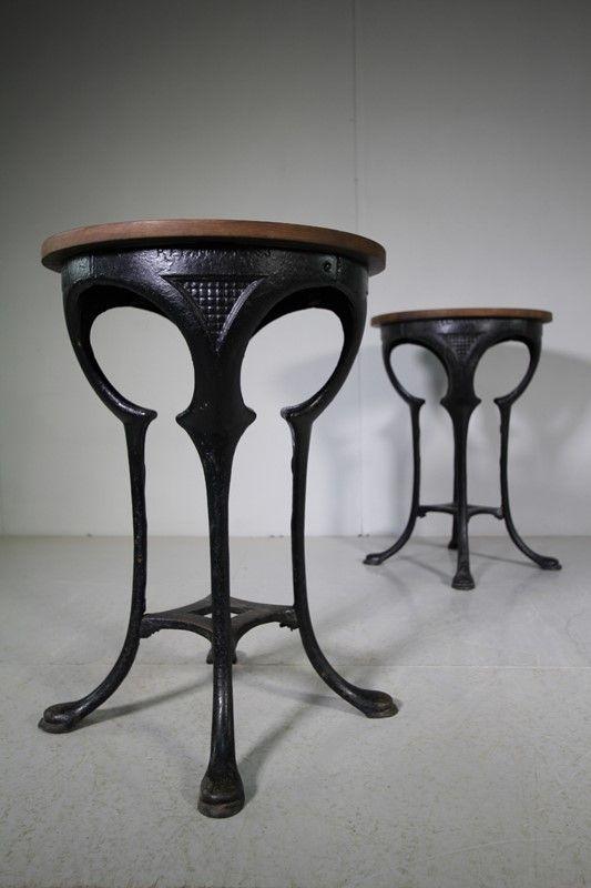Pair Of Edwardian Antique Cast Iron Tables Decorative