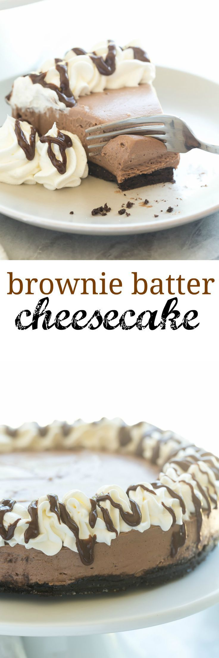 This No Bake Brownie Batter Cheesecake is the cheesecake for chocolate lovers…