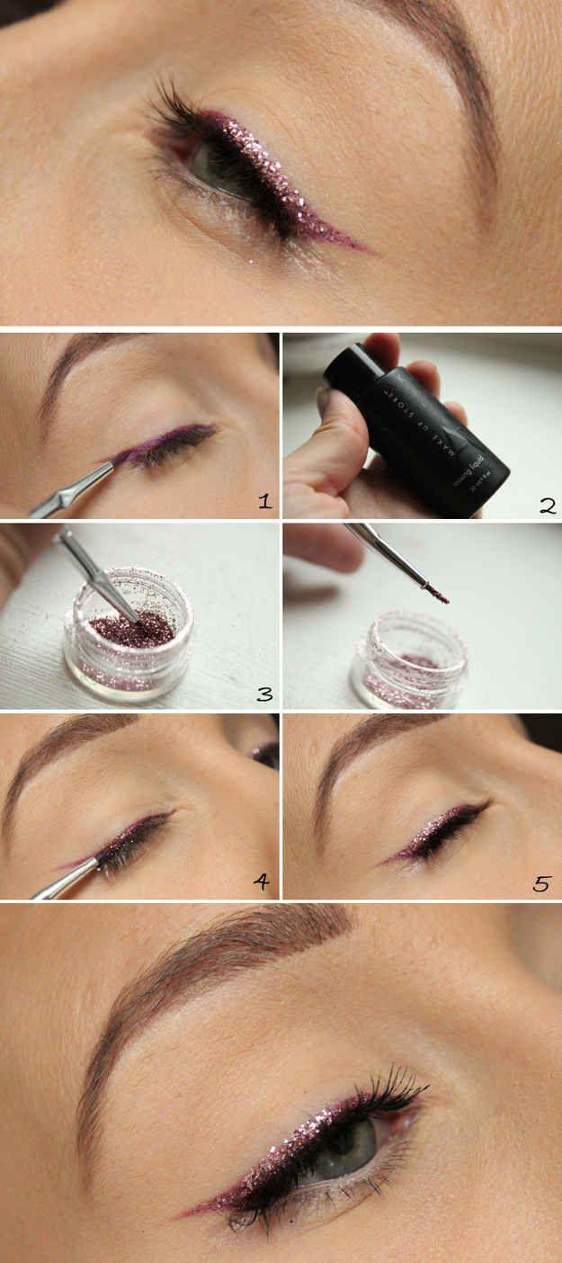 Extiende una linea delgada de brilantina sobre tu delineador. | 23 maneras de mejorar tu maquillaje para el a�o nuevo