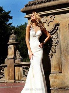 Taffeta Straps Court Train Trumpet/Mermaid Beading Prom Dresses -NZD$193.89